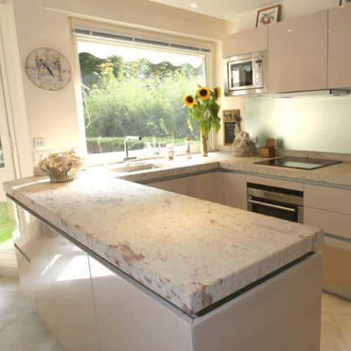 Kitchen granite worktops Ivory brown patiné