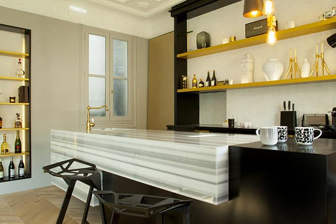 Kitchen marble workshop Blanco Striato