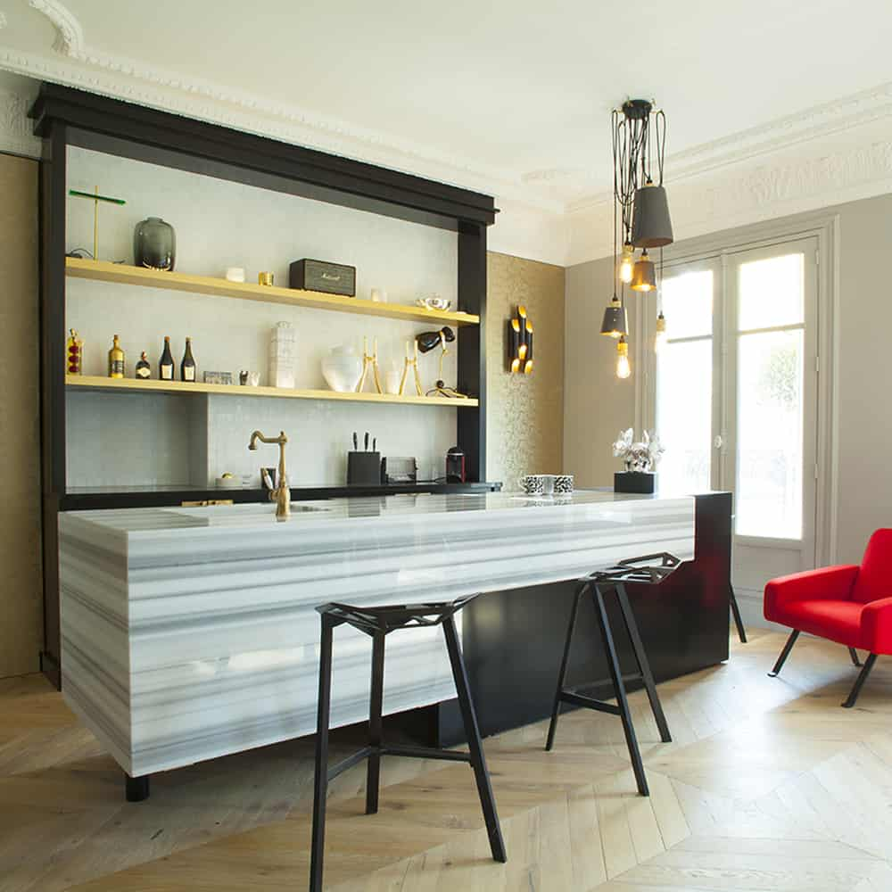 Plan et Habillage de meuble de cuisine en Marbre Bianco Striato