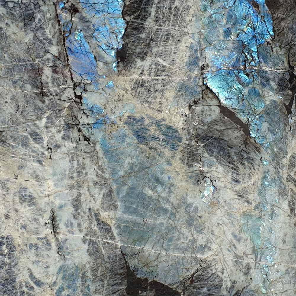 Nouveaux Arrivages de Tranches Tranche de granit Labradorite bleue